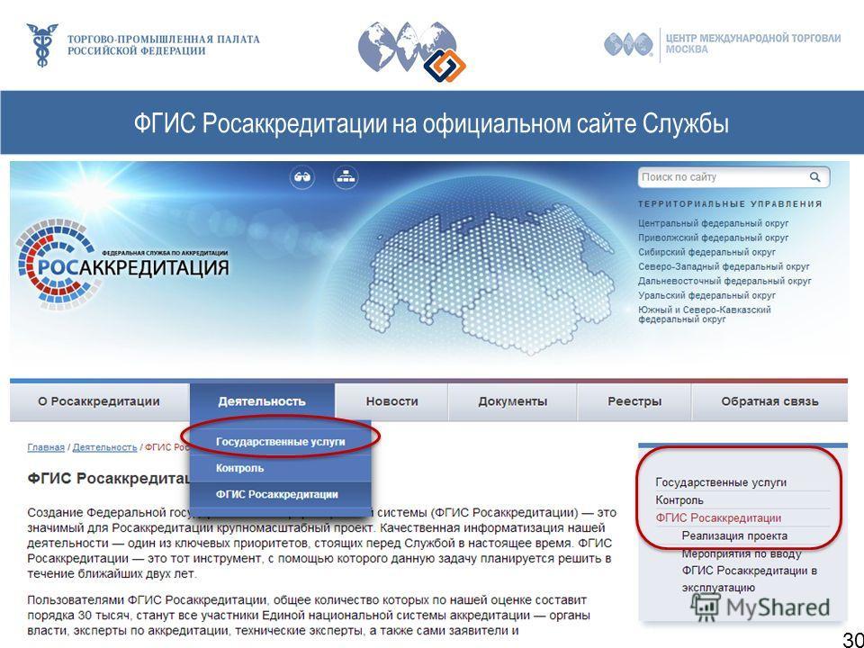 ФГИС Росаккредитации на официальном сайте Службы 30
