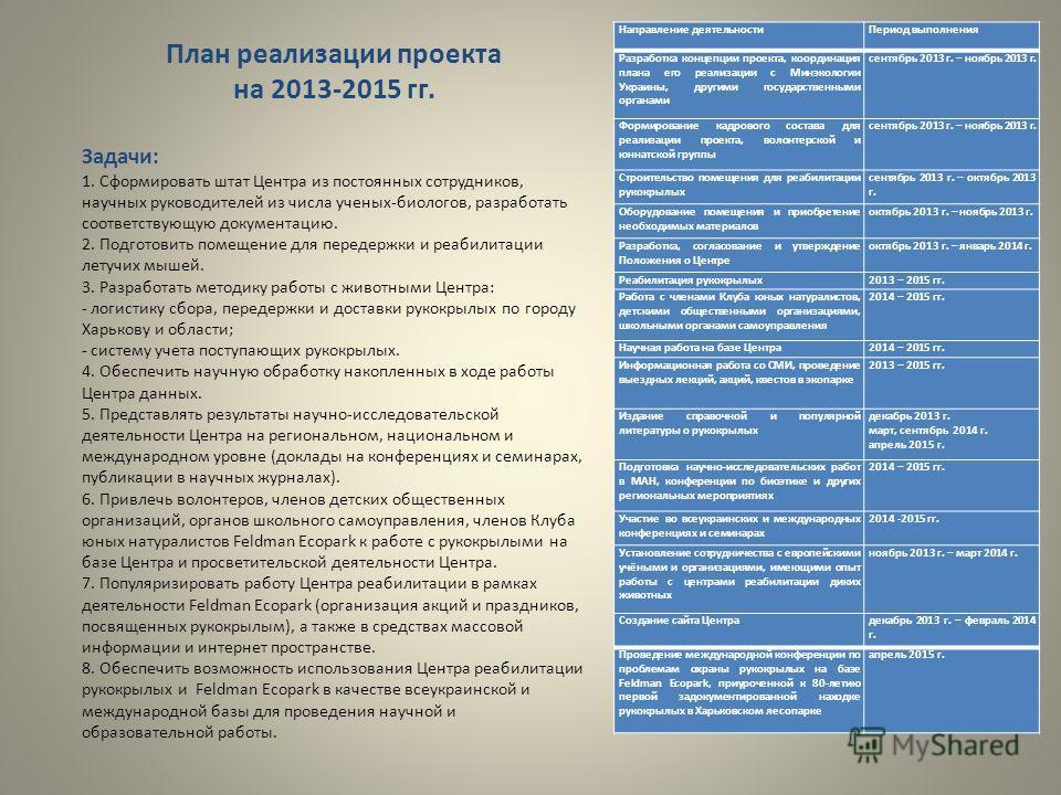 Направление деятельности Период выполнения Разработка концепции проекта, координация плана его реализации с Минэкологии Украины, другими государственными органами сентябрь 2013 г. – ноябрь 2013 г. Формирование кадрового состава для реализации проекта