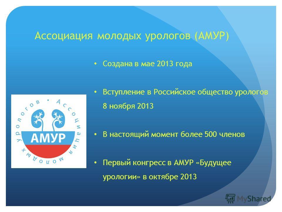 Ассоциация молодых урологов (АМУР) Создана в мае 2013 года Вступление в Российское общество урологов 8 ноября 2013 В настоящий момент более 500 членов Первый конгресс в АМУР «Будущее урологии» в октябре 2013