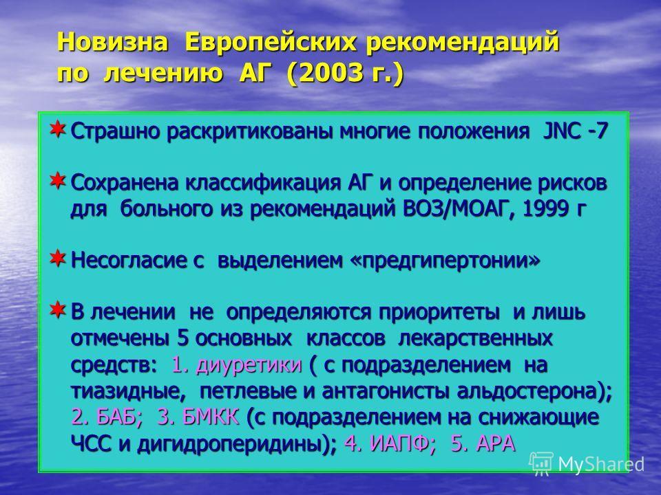 Страшно раскритикованы многие положения JNC -7 Страшно раскритикованы многие положения JNC -7 Сохранена классификация АГ и определение рисков для больного из рекомендаций ВОЗ/МОАГ, 1999 г Сохранена классификация АГ и определение рисков для больного и