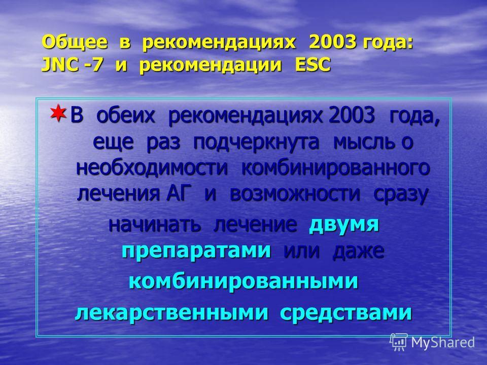 Общее в рекомендациях 2003 года: JNC -7 и рекомендации ESC В обеих рекомендациях 2003 года, еще раз подчеркнута мысль о необходимости комбинированного лечения АГ и возможности сразу В обеих рекомендациях 2003 года, еще раз подчеркнута мысль о необход