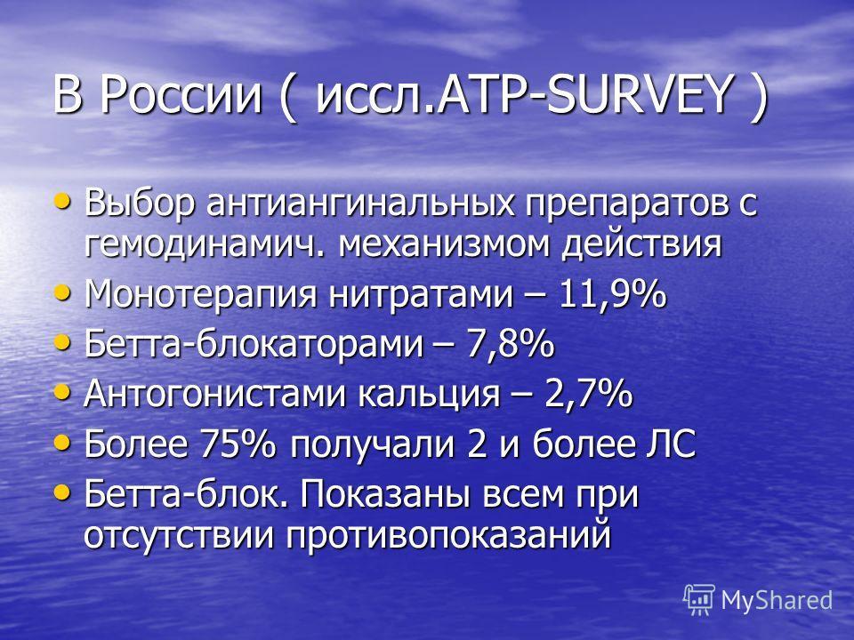 В России ( иссл.ATP-SURVEY ) Выбор антиангинальных препаратов с гемодинамич. механизмом действия Выбор антиангинальных препаратов с гемодинамич. механизмом действия Монотерапия нитратами – 11,9% Монотерапия нитратами – 11,9% Бетта-блокаторами – 7,8%