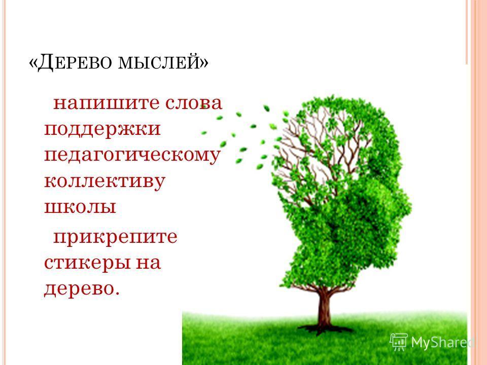 «Д ЕРЕВО МЫСЛЕЙ » напишите слова поддержки педагогическому коллективу школы прикрепите стикеры на дерево.