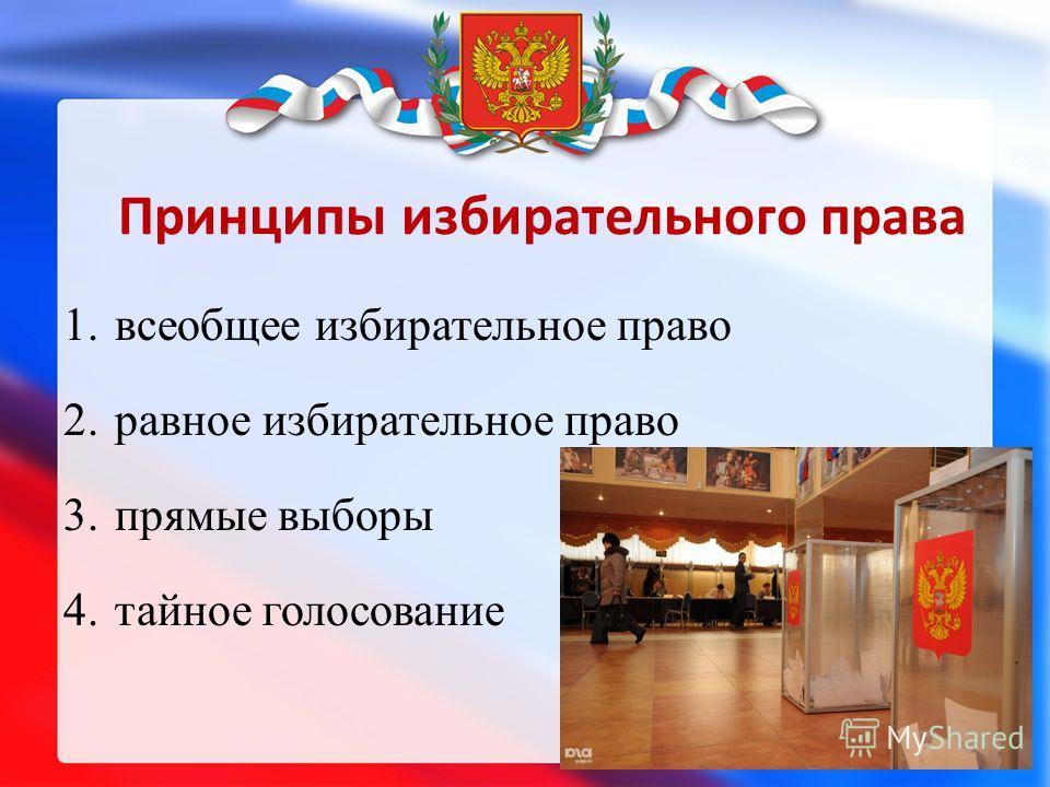 Принципы избирательного права 1. всеобщее избирательное право 2. равное избирательное право 3. прямые выборы 4. тайное голосование