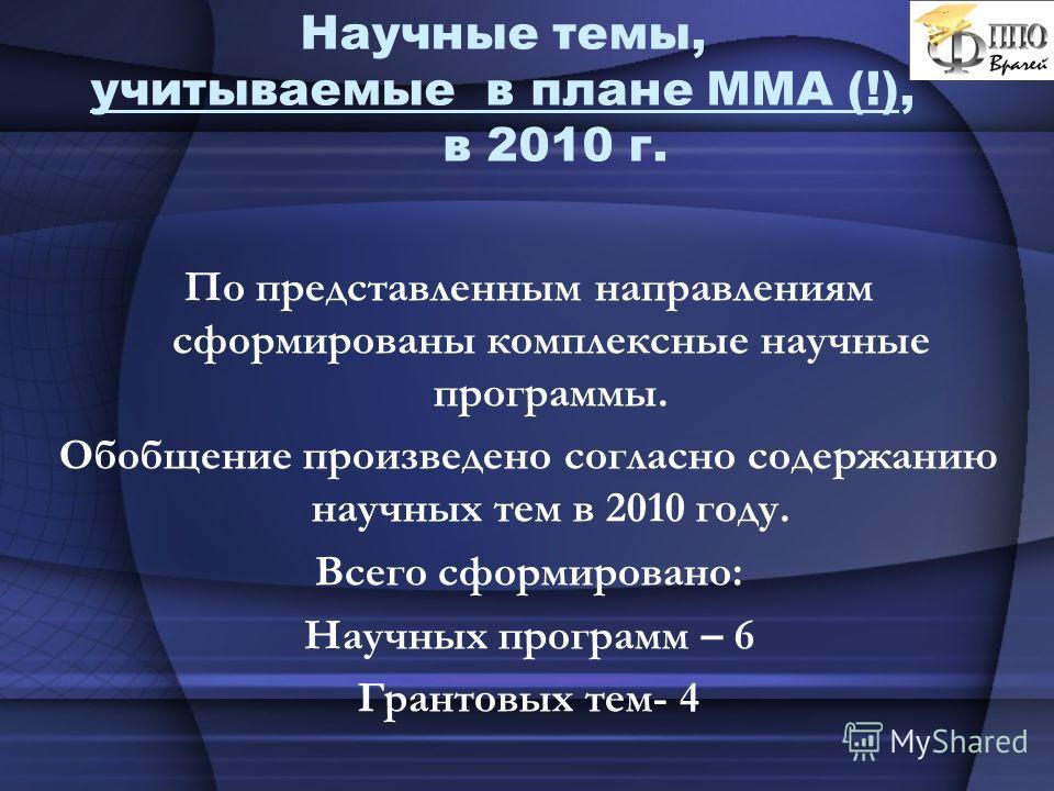 Научные темы, учитываемые в плане ММА (!), в 2010 г. По представленным направлениям сформированы комплексные научные программы. Обобщение произведено согласно содержанию научных тем в 2010 году. Всего сформировано: Научных программ – 6 Грантовых тем-