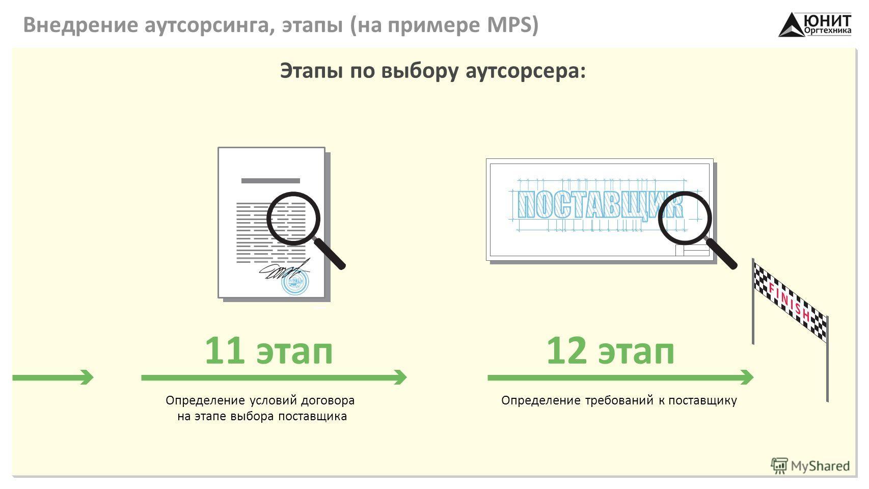 Внедрение аутсорсинга, этапы (на примере MPS) Этапы по выбору аутсорсера: Определение условий договора на этапе выбора поставщика 11 этап Определение требований к поставщику 12 этап