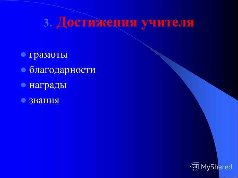3. Достижения учителя грамоты благодарности награды звания