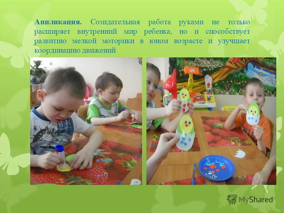 Аппликация. Созидательная работа руками не только расширяет внутренний мир ребенка, но и способствует развитию мелкой моторики в юном возрасте и улучшает координацию движений