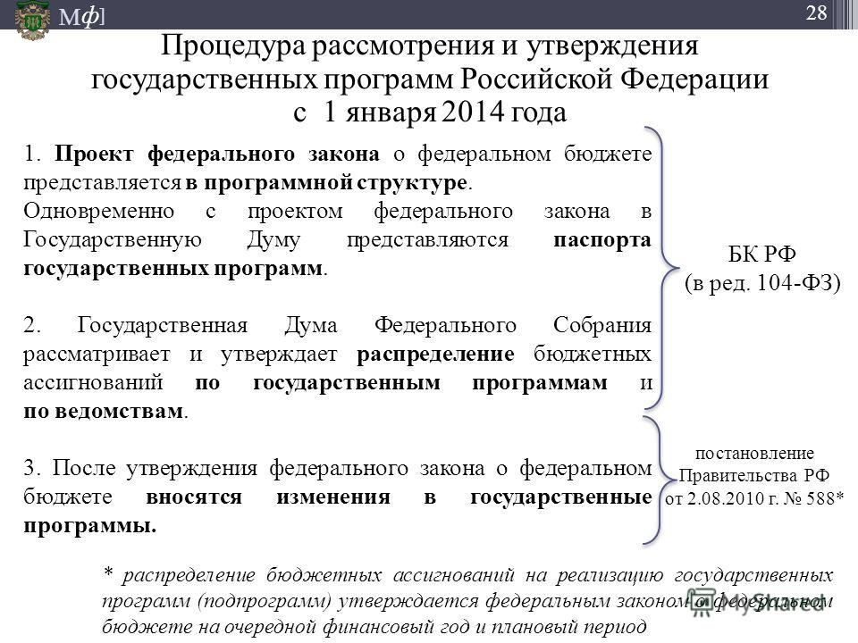 М ] ф 28 Процедура рассмотрения и утверждения государственных программ Российской Федерации с 1 января 2014 года 1. Проект федерального закона о федеральном бюджете представляется в программной структуре. Одновременно с проектом федерального закона в