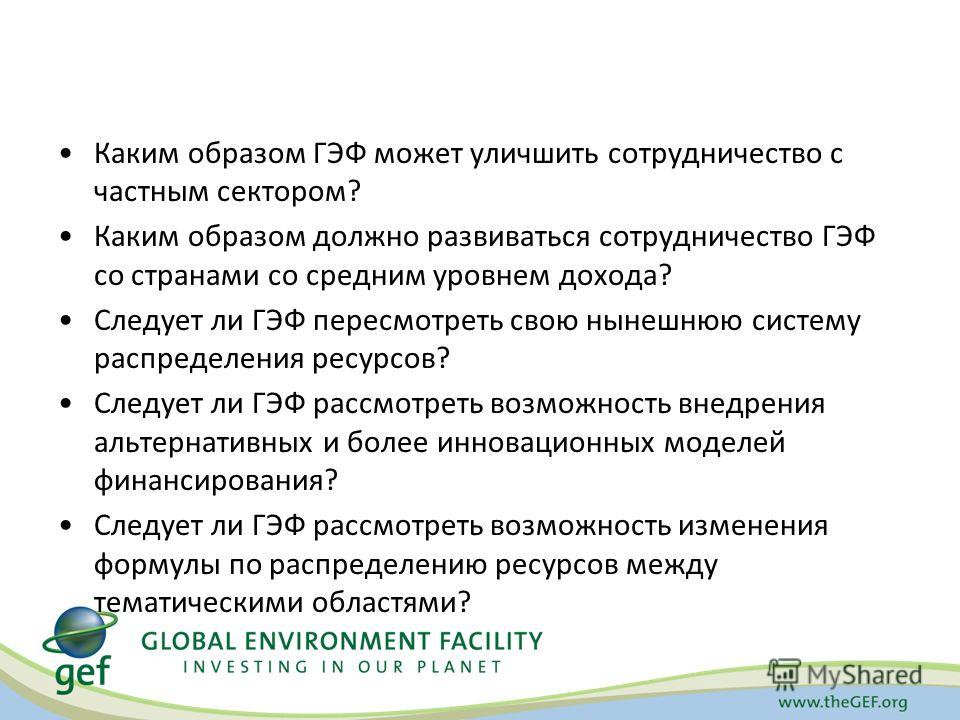 Каким образом ГЭФ может уличшить сотрудничество с частным сектором? Каким образом должно развиваться сотрудничество ГЭФ со странами со средним уровнем дохода? Следует ли ГЭФ пересмотреть свою нынешнюю систему распределения ресурсов? Следует ли ГЭФ ра