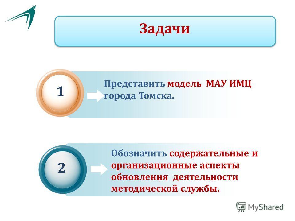 Представить модель МАУ ИМЦ города Томска. 1 Обозначить содержательные и организационные аспекты обновления деятельности методической службы. 2 Задачи