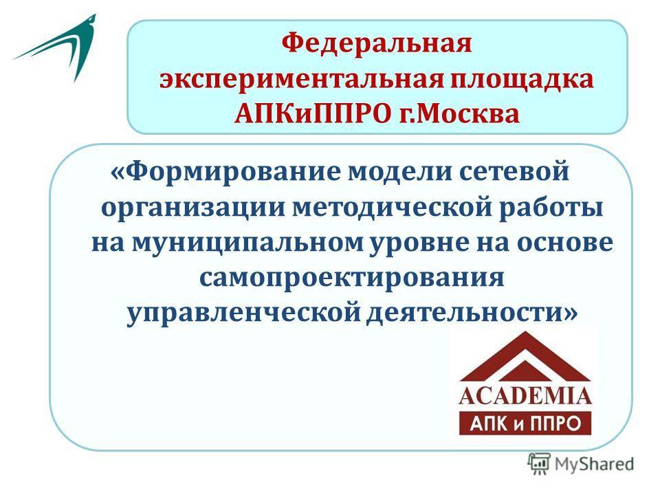 Федеральная экспериментальная площадка АПКиППРО г.Москва «Формирование модели сетевой организации методической работы на муниципальном уровне на основе самопроектирования управленческой деятельности»