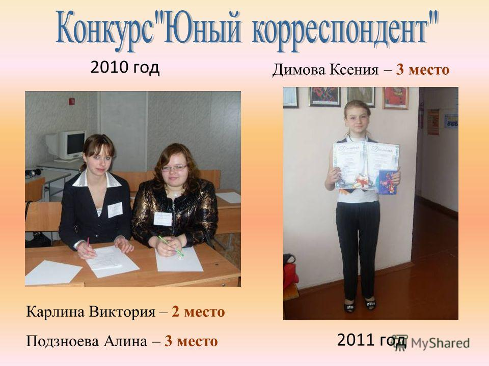2010 год Карлина Виктория – 2 место Подзноева Алина – 3 место 2011 год Димова Ксения – 3 место