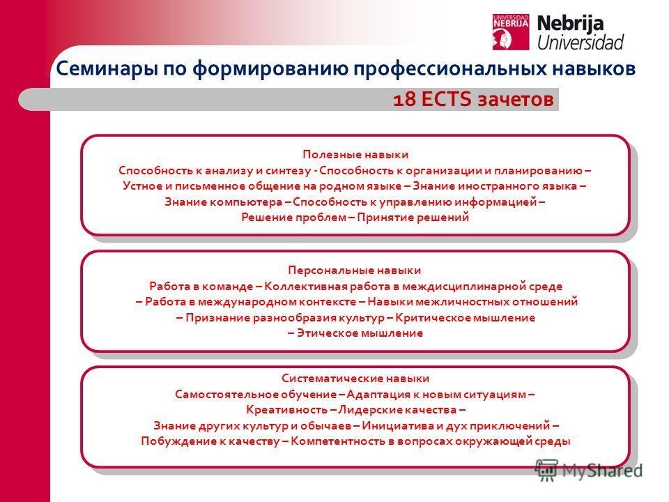 Семинары по формированию профессиональных навыков 18 ECTS зачетов Полезные навыки Способность к анализу и синтезу - Способность к организации и планированию – Устное и письменное общение на родном языке – Знание иностранного языка – Знание компьютера