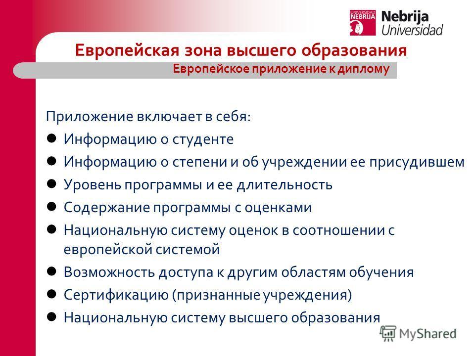 Приложение включает в себя: Информацию о студенте Информацию о степени и об учреждении ее присудившем Уровень программы и ее длительность Содержание программы с оценками Национальную систему оценок в соотношении с европейской системой Возможность дос