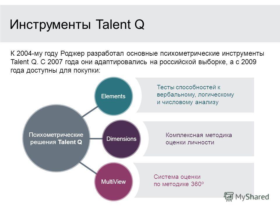 Психометрические решения Talent Q Dimensions MultiView Elements Инструменты Talent Q К 2004-му году Роджер разработал основные психометрические инструменты Talent Q. С 2007 года они адаптировались на российской выборке, а с 2009 года доступны для пок
