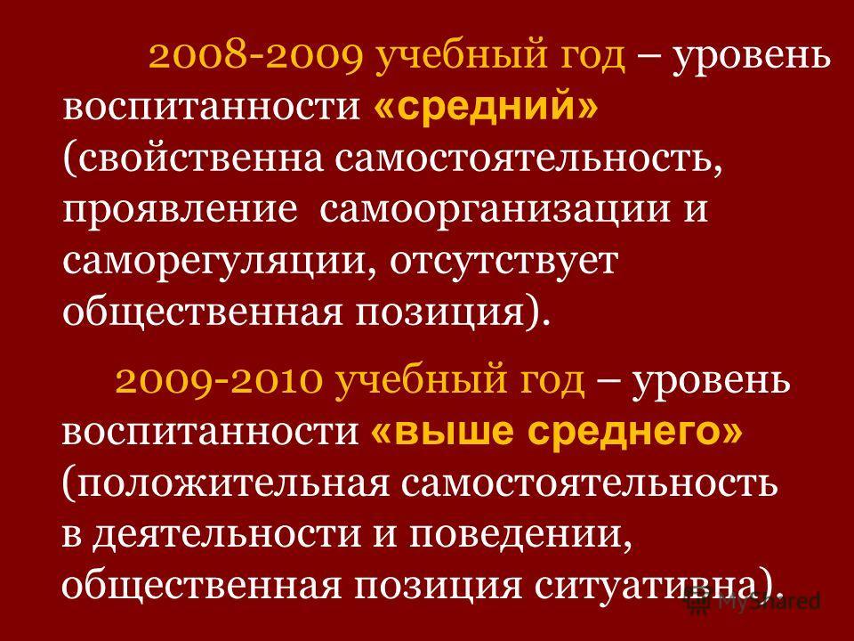 2008-2009 учебный год – уровень воспитанности «средний» (свойственна самостоятельность, проявление самоорганизации и саморегуляции, отсутствует общественная позиция). 2009-2010 учебный год – уровень воспитанности «выше среднего» (положительная самост