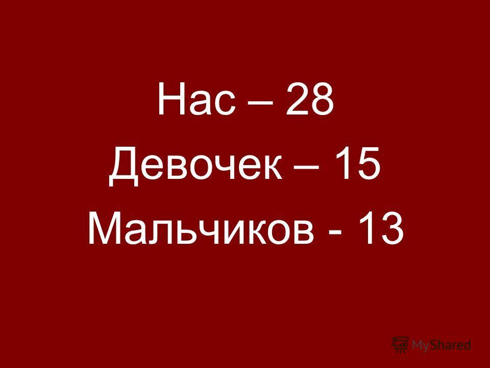 Нас – 28 Девочек – 15 Мальчиков - 13