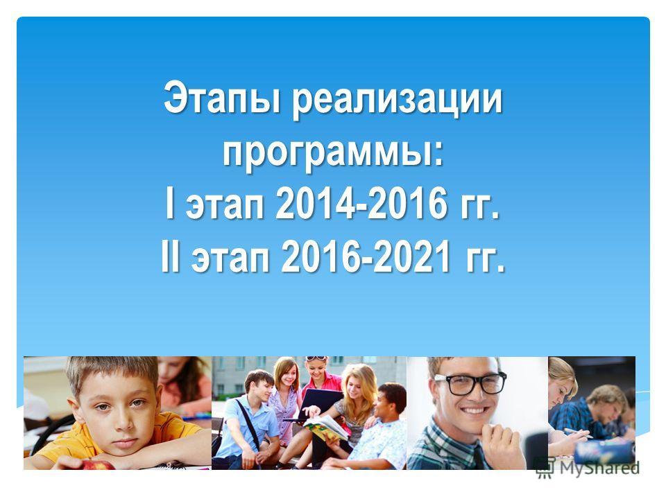 Этапы реализации программы: I этап 2014-2016 гг. II этап 2016-2021 гг.
