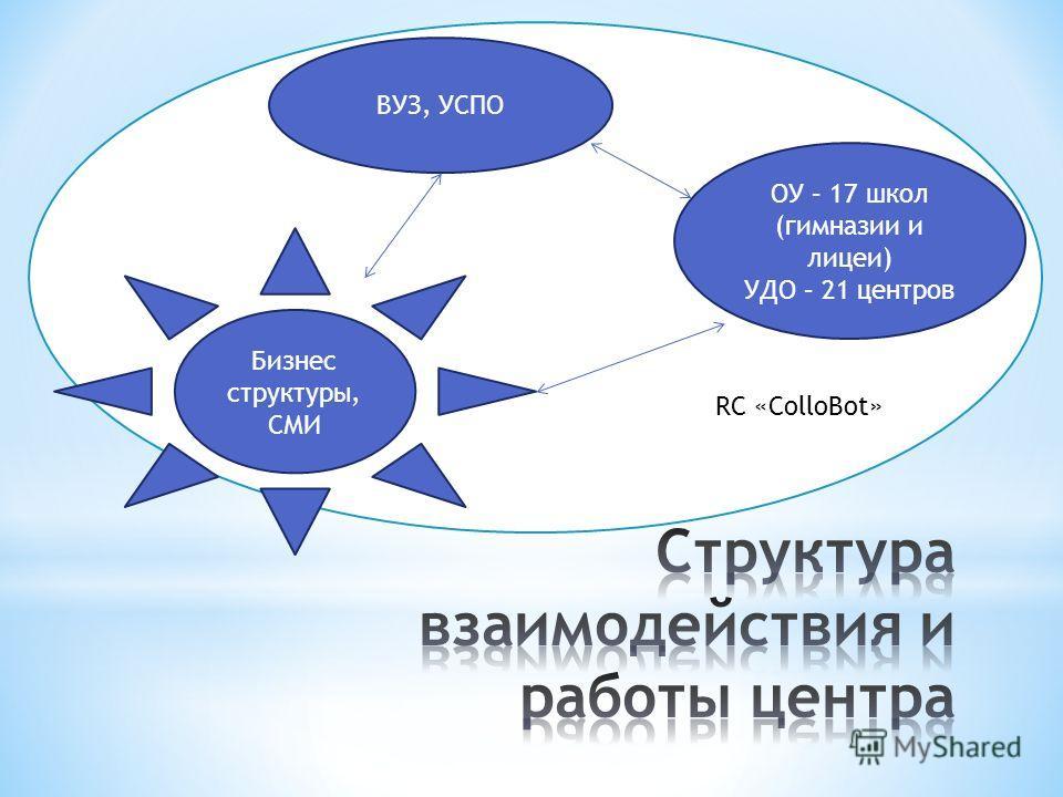 RC «ColloBot» ВУЗ, УСПО ОУ – 17 школ (гимназии и лицеи) УДО – 21 центров Бизнес структуры, СМИ