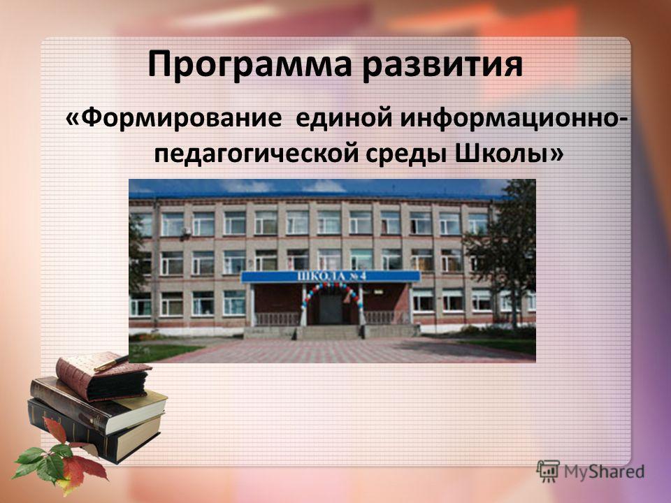 Программа развития «Формирование единой информационно- педагогической среды Школы»