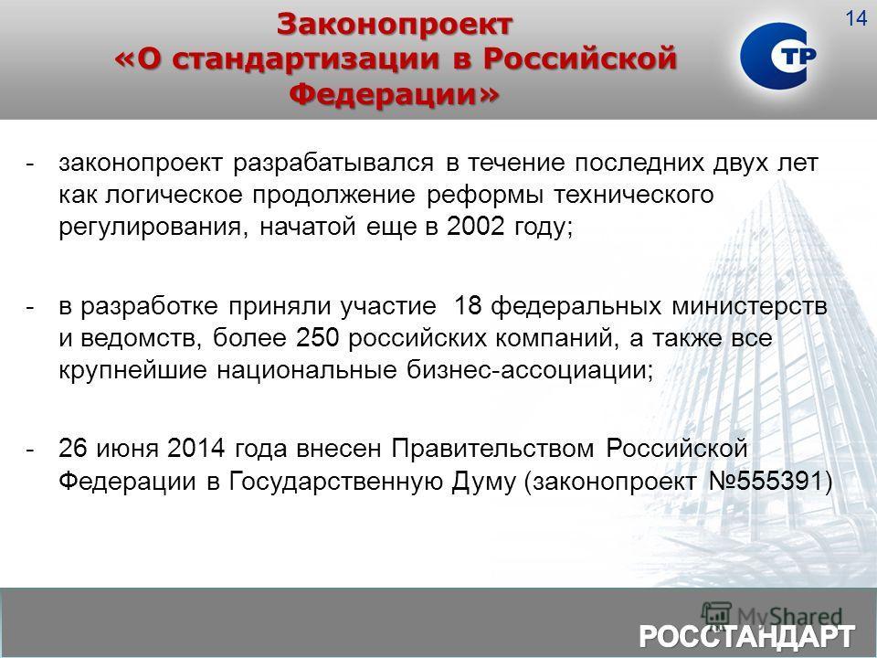 Законопроект «О стандартизации в Российской Федерации» -законопроект разрабатывался в течение последних двух лет как логическое продолжение реформы технического регулирования, начатой еще в 2002 году; -в разработке приняли участие 18 федеральных мини