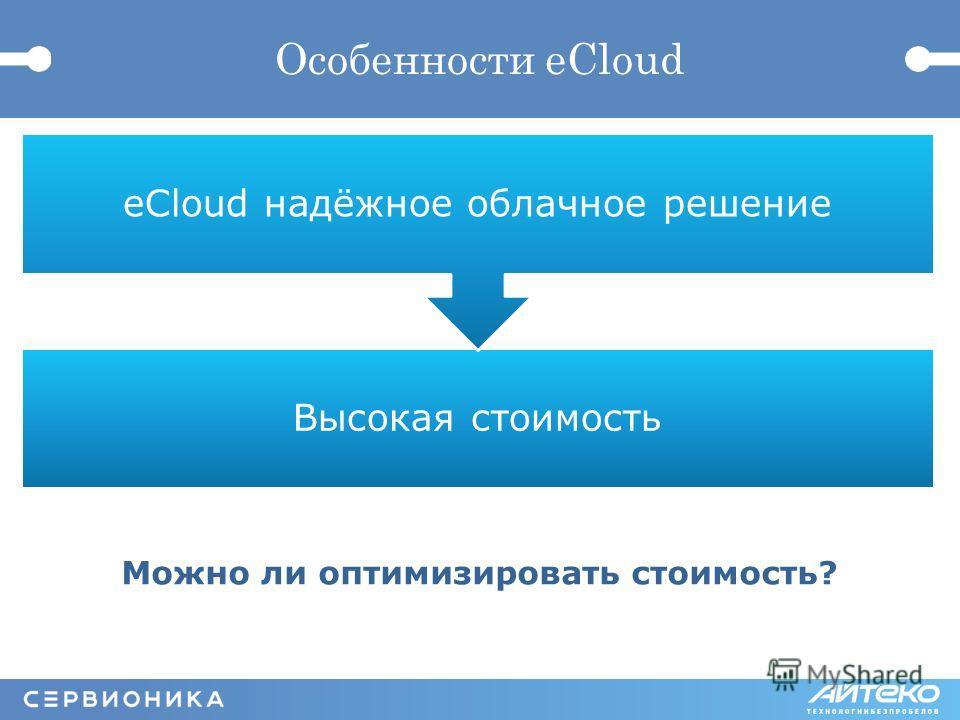 Особенности eCloud Высокая стоимость eCloud надёжное облачное решение Можно ли оптимизировать стоимость?