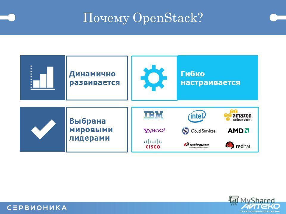 Почему OpenStack? Динамично развивается Выбрана мировыми лидерами Гибко настраивается
