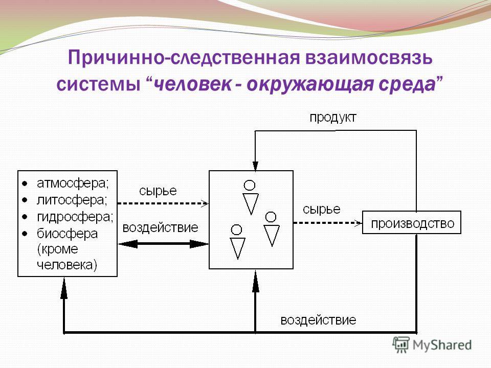 Причинно-следственная взаимосвязь системы человек - окружающая среда