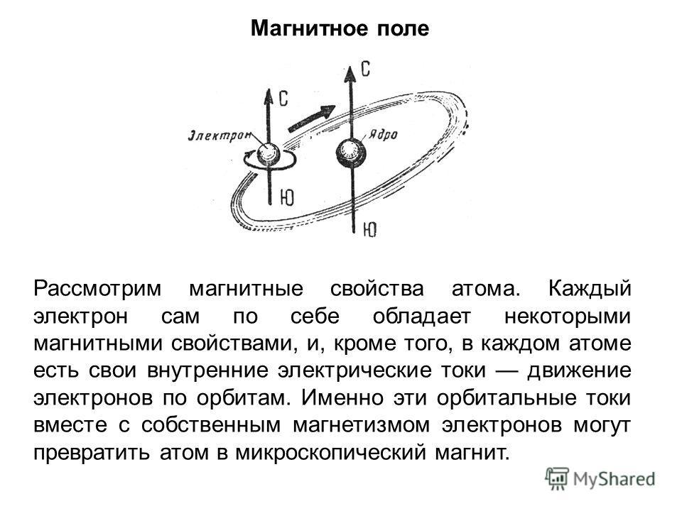 Магнитное поле Рассмотрим магнитные свойства атома. Каждый электрон сам по себе обладает некоторыми магнитными свойствами, и, кроме того, в каждом атоме есть свои внутренние электрические токи движение электронов по орбитам. Именно эти орбитальные то