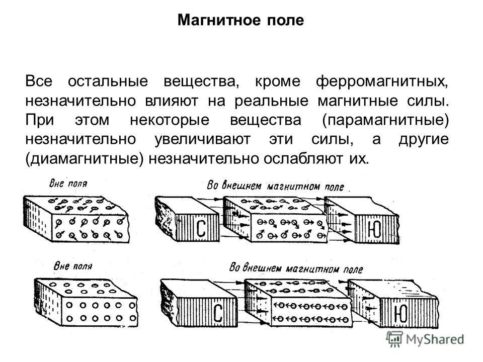 Магнитное поле Все остальные вещества, кроме ферромагнитных, незначительно влияют на реальные магнитные силы. При этом некоторые вещества (парамагнитные) незначительно увеличивают эти силы, а другие (диамагнитные) незначительно ослабляют их.