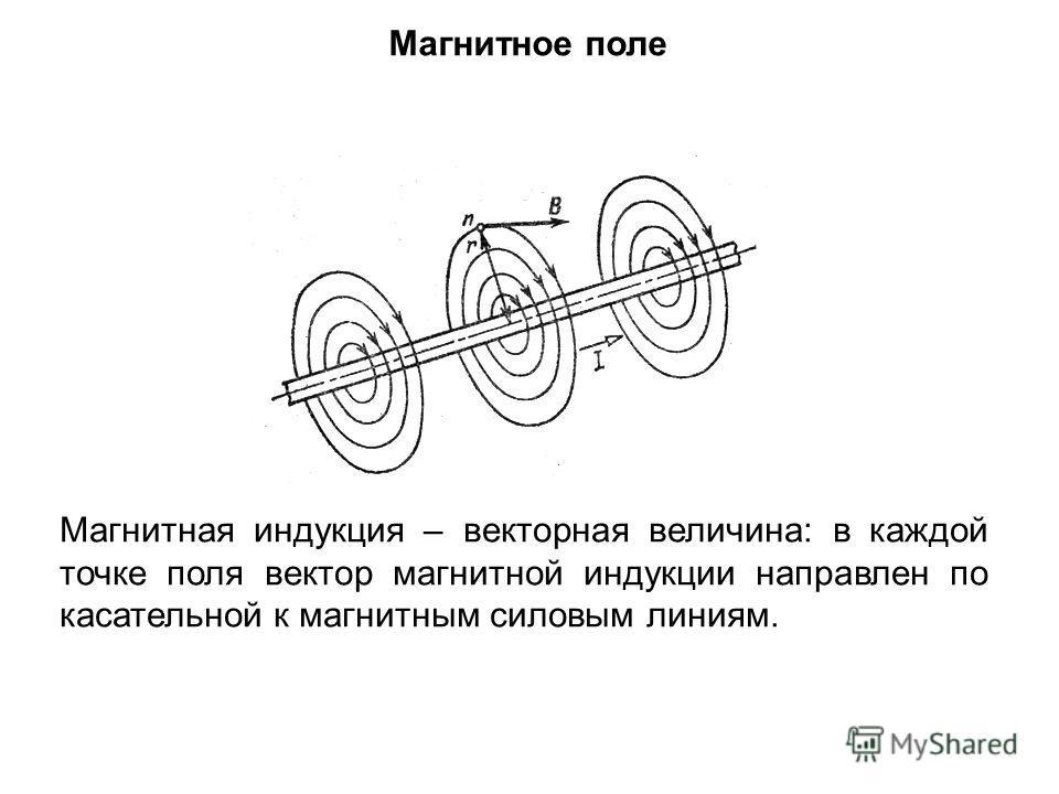 Магнитное поле Магнитная индукция – векторная величина: в каждой точке поля вектор магнитной индукции направлен по касательной к магнитным силовым линиям.