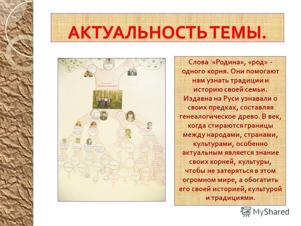 АКТУАЛЬНОСТЬ ТЕМЫ. Слова « Родина », « род » - одного корня. Они помогают нам узнать традиции и историю своей семьи. Издавна на Руси узнавали о своих предках, составляя генеалогическое древо. В век, когда стираются границы между народами, странами, к