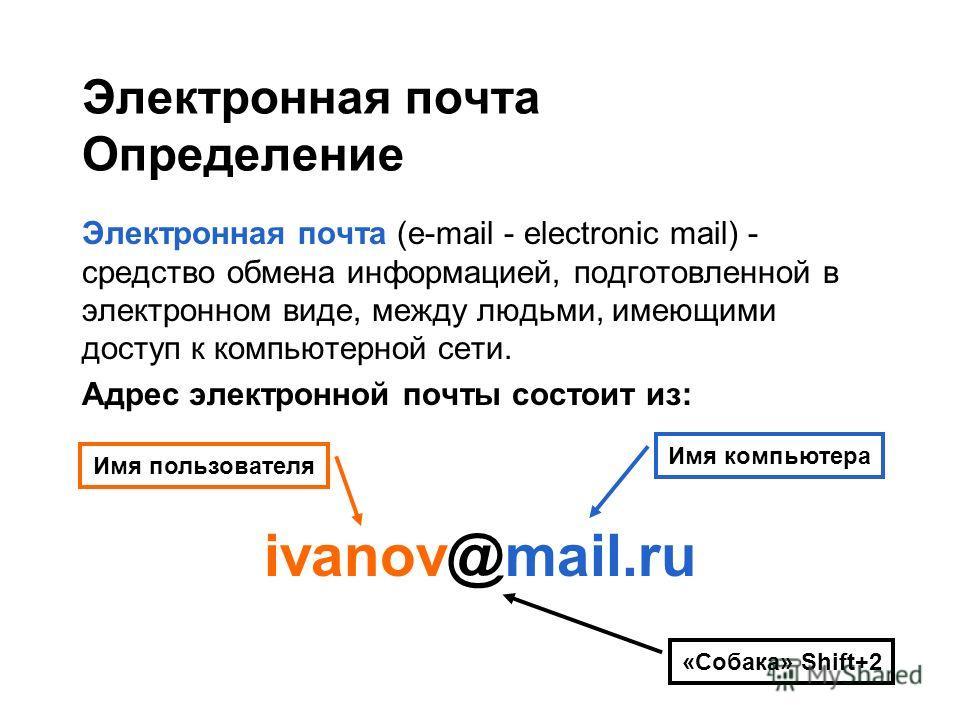 Электронная почта Определение Электронная почта (e-mail - electronic mail) - средство обмена информацией, подготовленной в электронном виде, между людьми, имеющими доступ к компьютерной сети. Адрес электронной почты состоит из: ivanov@mail.ru Имя пол