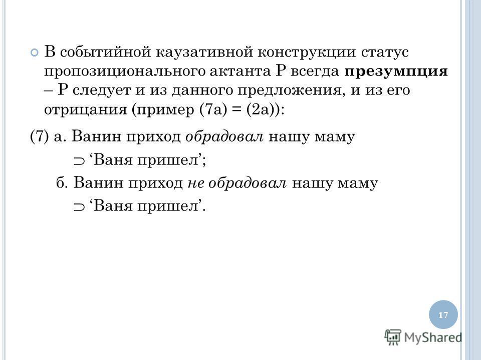 В событийной каузативной конструкции статус пропозиционального актанта Р всегда презумпция – Р следует и из данного предложения, и из его отрицания (пример (7 а) = (2 а)): (7) а. Ванин приход обрадовал нашу маму Ваня пришел; б. Ванин приход не обрадо