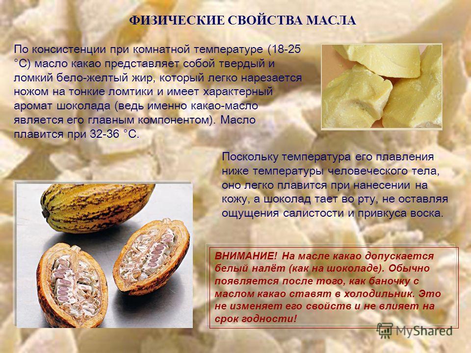 ФИЗИЧЕСКИЕ СВОЙСТВА МАСЛА По консистенции при комнатной температуре (18-25 °С) масло какао представляет собой твердый и ломкий бело-желтый жир, который легко нарезается ножом на тонкие ломтики и имеет характерный аромат шоколада (ведь именно какао-ма