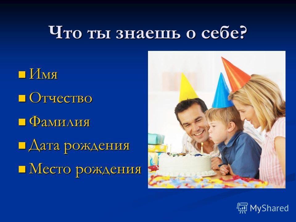 Что ты знаешь о себе? Имя Имя Отчество Отчество Фамилия Фамилия Дата рождения Дата рождения Место рождения Место рождения