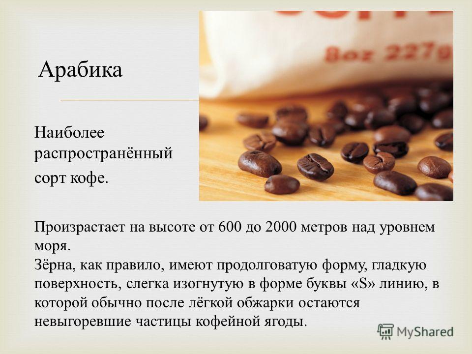 Наиболее распространённый сорт кофе. Произрастает на высоте от 600 до 2000 метров над уровнем моря. Зёрна, как правило, имеют продолговатую форму, гладкую поверхность, слегка изогнутую в форме буквы «S» линию, в которой обычно после лёгкой обжарки ос