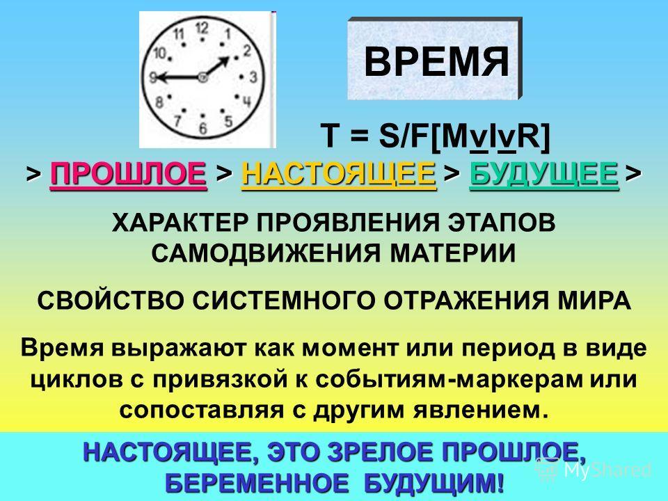 ВРЕМЯ T = S/F[MvIvR] > ПРОШЛОЕ > НАСТОЯЩЕЕ > БУДУЩЕЕ > ХАРАКТЕР ПРОЯВЛЕНИЯ ЭТАПОВ САМОДВИЖЕНИЯ МАТЕРИИ СВОЙСТВО СИСТЕМНОГО ОТРАЖЕНИЯ МИРА Время выражают как момент или период в виде циклов с привязкой к событиям-маркерам или сопоставляя с другим явле