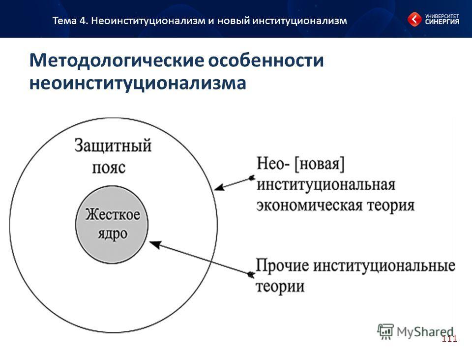 111 Тема 4. Неоинституционализм и новый институционализм Методологические особенности неоинституционализма