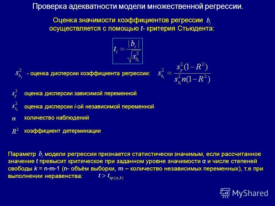 Оценка значимости коэффициентов регрессии осуществляется с помощью t- критерия Стьюдента: - оценка дисперсии коэффициента регрессии: оценка дисперсии зависимой переменной оценка дисперсии i-ой независимой переменной количество наблюдений коэффициент