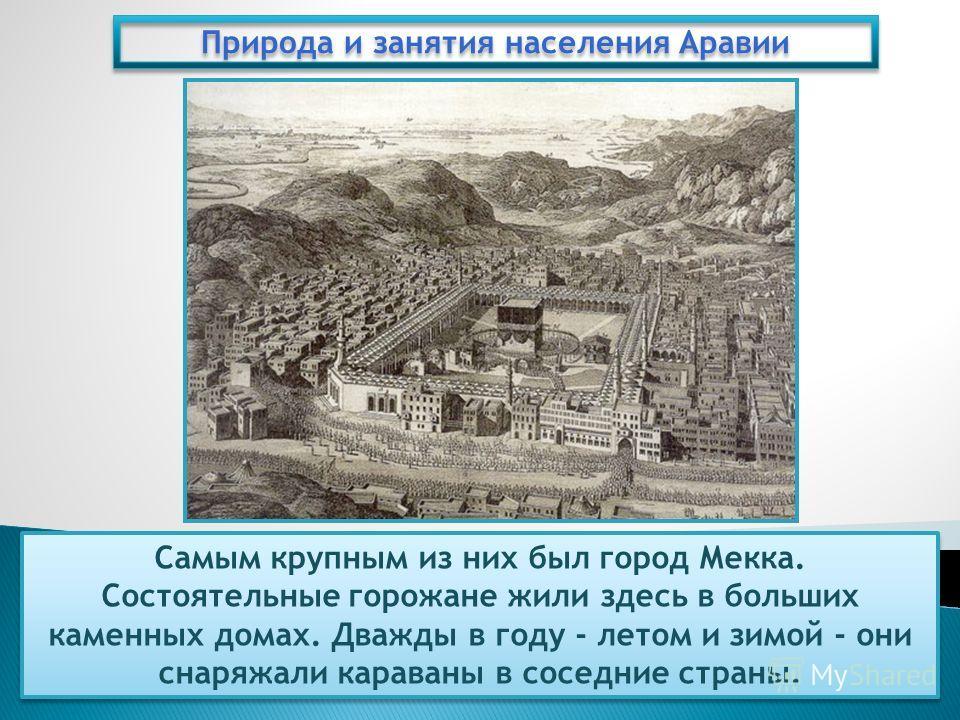 Природа и занятия населения Аравии Самым крупным из них был город Мекка. Состоятельные горожане жили здесь в больших каменных домах. Дважды в году - летом и зимой - они снаряжали караваны в соседние страны.