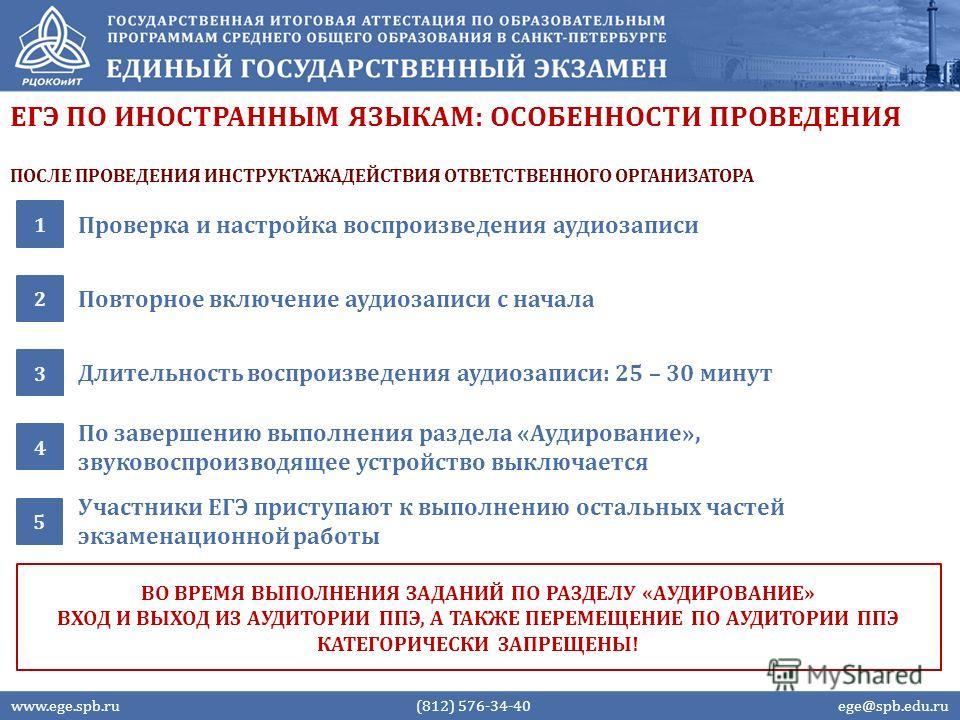 ЕГЭ ПО ИНОСТРАННЫМ ЯЗЫКАМ: ОСОБЕННОСТИ ПРОВЕДЕНИЯ Проверка и настройка воспроизведения аудиозаписи 1 Повторное включение аудиозаписи с начала 2 www.ege.spb.ru (812) 576-34-40 ege@spb.edu.ru ВО ВРЕМЯ ВЫПОЛНЕНИЯ ЗАДАНИЙ ПО РАЗДЕЛУ «АУДИРОВАНИЕ» ВХОД И