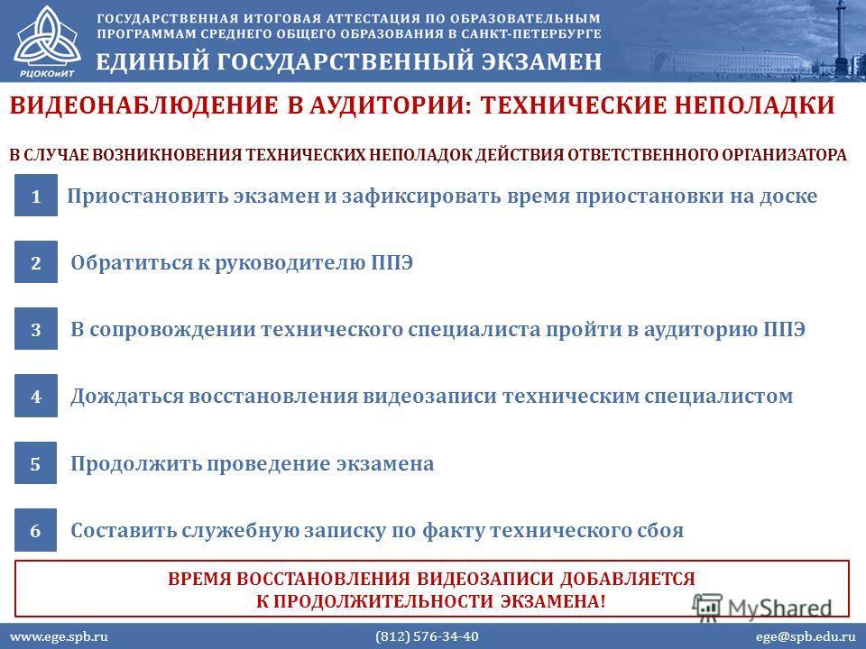 ВИДЕОНАБЛЮДЕНИЕ В АУДИТОРИИ: ТЕХНИЧЕСКИЕ НЕПОЛАДКИ Приостановить экзамен и зафиксировать время приостановки на доске 1 Обратиться к руководителю ППЭ 2 www.ege.spb.ru (812) 576-34-40 ege@spb.edu.ru ВРЕМЯ ВОССТАНОВЛЕНИЯ ВИДЕОЗАПИСИ ДОБАВЛЯЕТСЯ К ПРОДОЛ