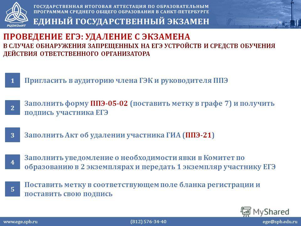 ПРОВЕДЕНИЕ ЕГЭ: УДАЛЕНИЕ С ЭКЗАМЕНА Пригласить в аудиторию члена ГЭК и руководителя ППЭ 1 Заполнить форму ППЭ-05-02 (поставить метку в графе 7) и получить подпись участника ЕГЭ 2 www.ege.spb.ru (812) 576-34-40 ege@spb.edu.ru Заполнить Акт об удалении