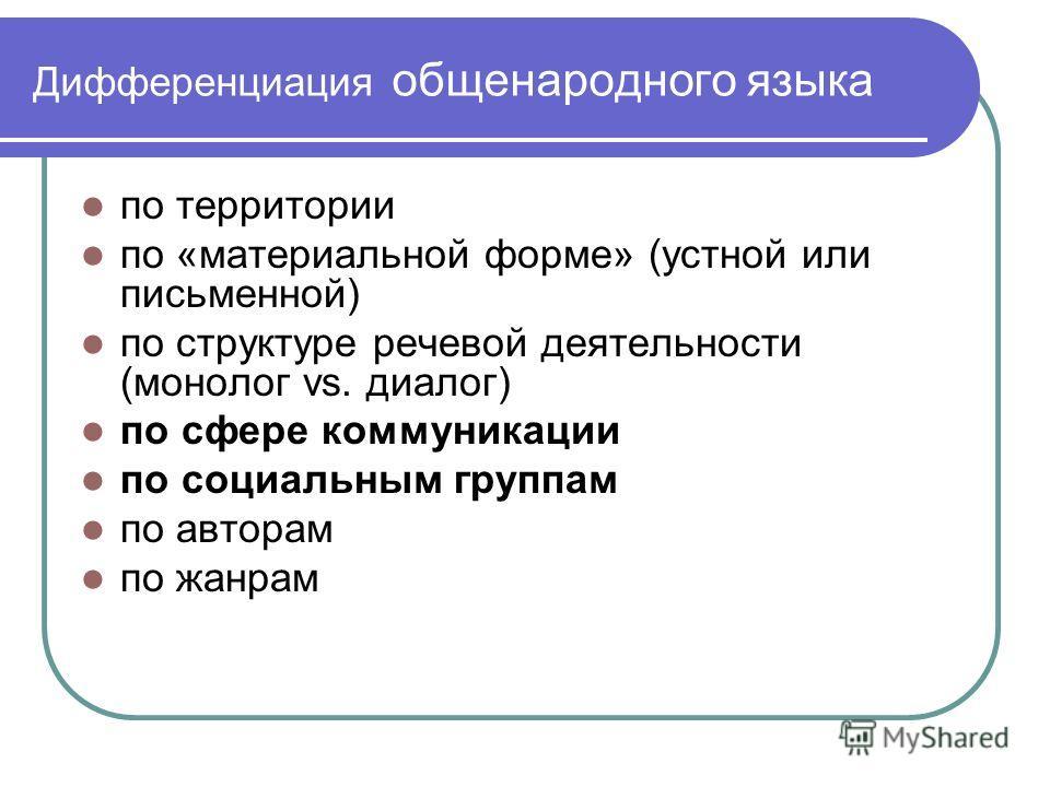Дифференциация общенародного языка по территории по «материальной форме» (устной или письменной) по структуре речевой деятельности (монолог vs. диалог) по сфере коммуникации по социальным группам по авторам по жанрам