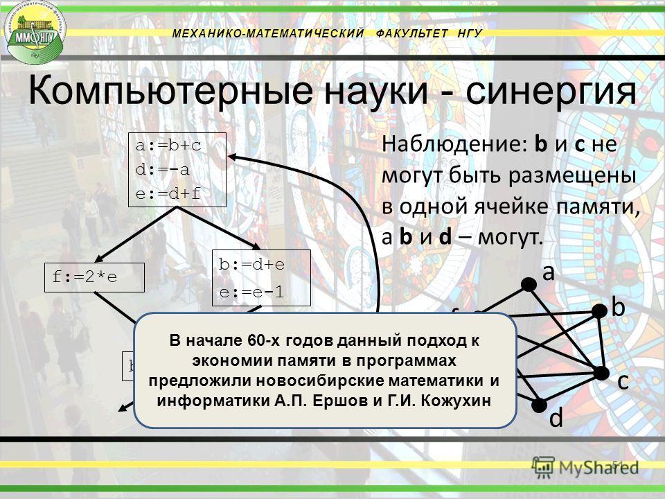 Компьютерные науки - синергия МЕХАНИКО-МАТЕМАТИЧЕСКИЙ ФАКУЛЬТЕТ НГУ 51 a d c b Наблюдение: b и c не могут быть размещены в одной ячейке памяти, а b и d – могут. a:=b+c d:=-a e:=d+f f:=2*e b:=d+e e:=e-1 b:=f+c f e В начале 60-х годов данный подход к э