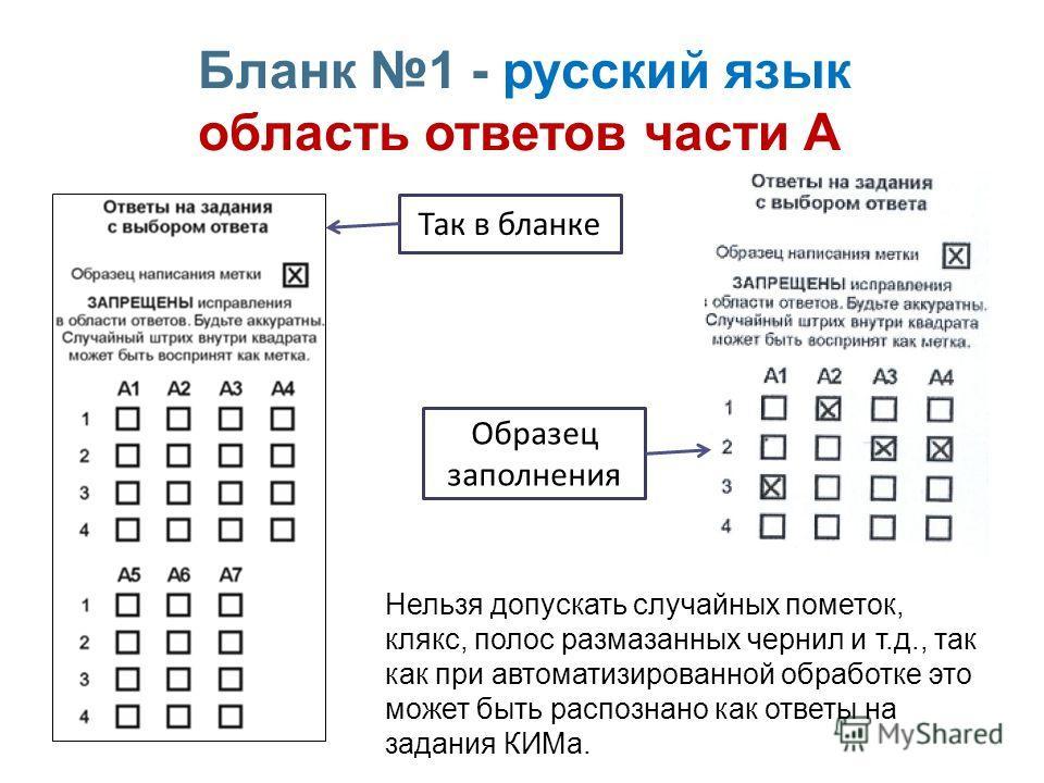 Бланк 1 - русский язык область ответов части А Нельзя допускать случайных пометок, клякс, полос размазанных чернил и т.д., так как при автоматизированной обработке это может быть распознано как ответы на задания КИМа. Так в бланке Образец заполнения