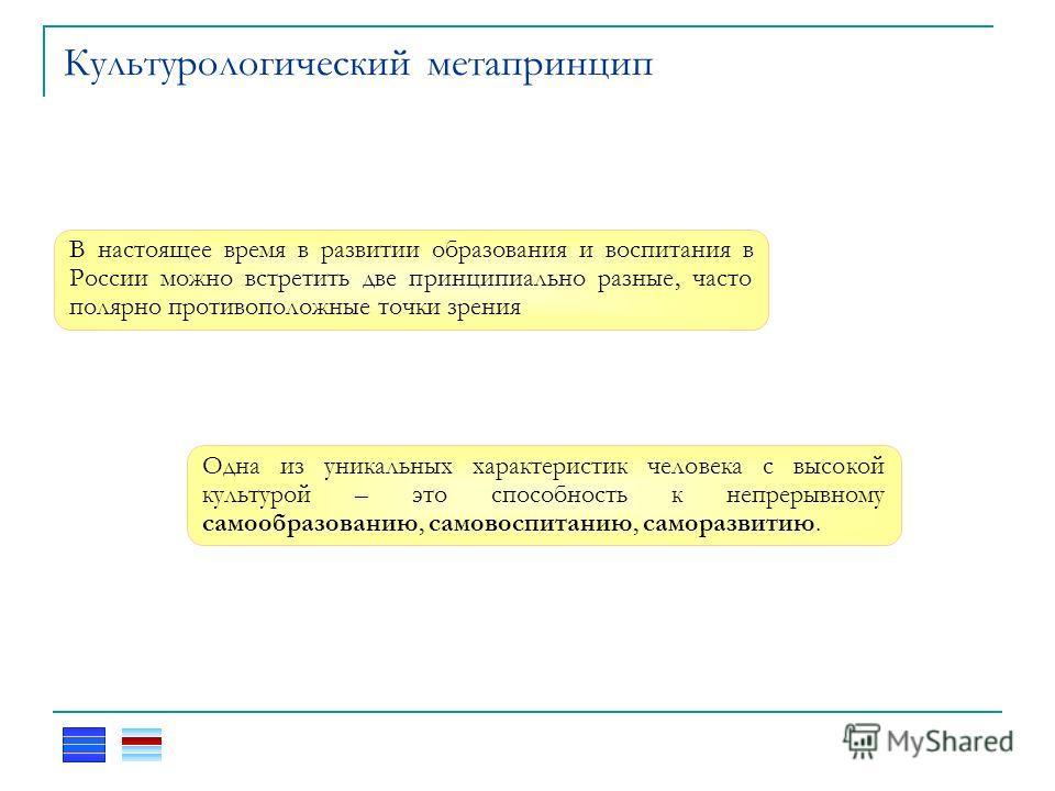 Культурологический метапринцип В настоящее время в развитии образования и воспитания в России можно встретить две принципиально разные, часто полярно противоположные точки зрения Одна из уникальных характеристик человека с высокой культурой – это спо