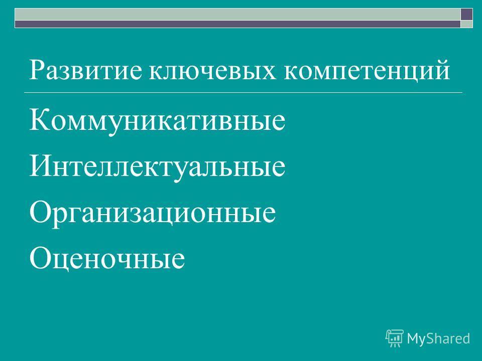 Развитие ключевых компетенций Коммуникативные Интеллектуальные Организационные Оценочные
